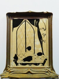 "Jess, ""Jerusalem"" (ca.1962 – 64) ink on white board in standing Art Deco frame, illustration planed for but not used in Duncan's <em>A Book of Resemblances</em> (1966). Given to David Levi Strauss and Sterrett Smith upon leaving San Francisco for New York City in 1993. It reads ""It seemed so far."""