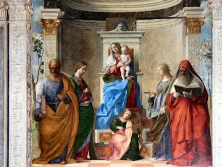 "Giovanni Bellini, ""The Sacred Conversation,"" San Zaccaria Altarpiece, 1505. Oil on wood."