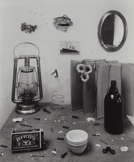 """Untitled (Bird's-Eye, Still life),"" 1945, gelatin-silver print, 11×9 ̋. Courtesy Tibor de Nagy Gallery, New York."