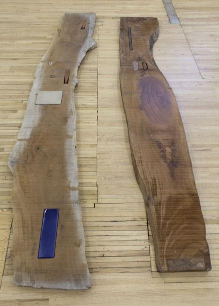 "Lucy Skaer, ""Sticks & Stones I,"" 2013 – 2015. Sinker mahogany, Burmese blackwood, tin, coins, lithographic stone, ceramic opper, American walnut, tiger's eye, carnelian, 151 × 29 1/2 × 2 1/2, 141 1/4 × 21 1/2 × 2 1/2 ̋."