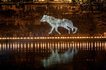 Kiki Smith (with Joey Kötting and Alex Noyes), <em>Night Wolf</em> (2006)<em>, </em>one of six sound-video installations from TEVERETERNO's 2006<em> Ombre dal Lupercale </em>program, Piazza Tevere, Rome, Italy. Photo by T. Charles Erickson.