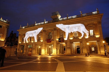 Kristin Jones, <em>Wild Graces </em>(2006), Light projection onto the façade of Rome's Capitoline Museum during TEVERETERNO's 2009 <em>Trilogy: The She-Wolf as Shape of Time</em> program, Rome, Italy. Photo by Alessandro Penso.
