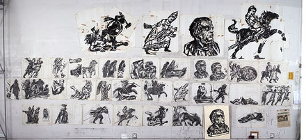 William Kentridge, <em>Preliminary Sequence I </em>(2014), exploratory drawing for <em>Triumphs and Laments</em>, ink on paper. Image courtesy of the artist and TEVERETERNO. Photo by Thys Dullaart.