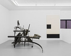 Jo Nigoghossian, <i>Levels</i> (2014), steel and rubber crawler (clear); and Augustus Thompson, <i>Shared Memory Scenario IV</i> (2014), india ink and pencil on canvas. Images courtesy of the artists and ROOM EAST.