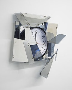 Sean Raspet, <i>Inflection</i> (2009-10), Plexiglas with 2-way reflective coasting, mirrored Plexiglas, stainless steel hardware and wall clock. Image courtesy of the artist and ROOM East.