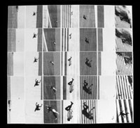"Carolee Schneemann, ""Terminal Velocity"" (2001), black and white computer scans of falling bodies from 9/11, inkjet on paper. Enlarged sequences: 7 columns x 5 rows - 35 units each 12x16 inches; total 84w x 80h inches.<br> Scanned sequences of images consecrate nine people—among the hundreds—falling to their inescapable deaths. The computer process allows intimate contact with each horrific isolation in the desolate shifting space. In this communal nightmare, fleeting visual attributes of nine lives become vivid by enlargement unexpectedly captured, made public.  These enlargements personalize nine people, who in their normal workday were thrown by impact into a gravitational plunge, or chose to escape incineration by leaping into space.—CS October 2001)."