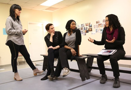 Director Leigh Silverman, actors Rebecca Henderson and Rachel Holmes, and playwright Tanya Barfield (left to right) in the rehearsal room. Photo: Joan Marcus.
