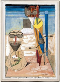 "Max Ernst, ""Ambiguous Figures (1 Copper Plate, 1 Zinc Plate, 1 Rubber Cloth...)"" (1919/1920), collage, gouache, India ink, pencil and paint on print, mounted on paperboard. Collection Michael and Judy Steinhardt, New York ©2005 Artists Rights Society (ARS), New York/ADAGP Paris."