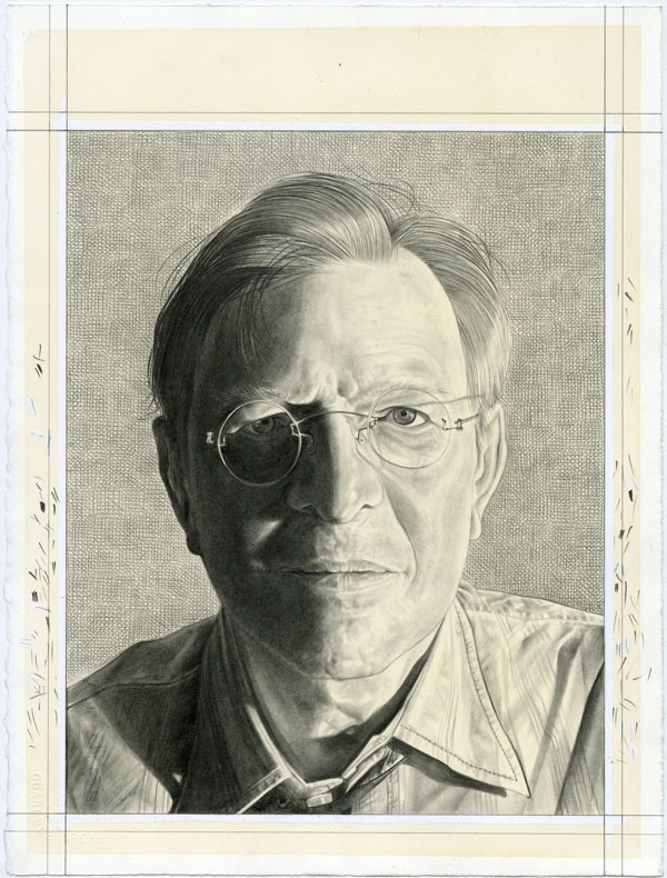 Portrait of John Elderfield. Pencil on paper by Phong Bui.