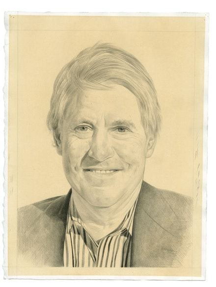 Portrait of Peter Galassi. Pencil on paper by Phong Bui. From a photograph by Robert McKeever.