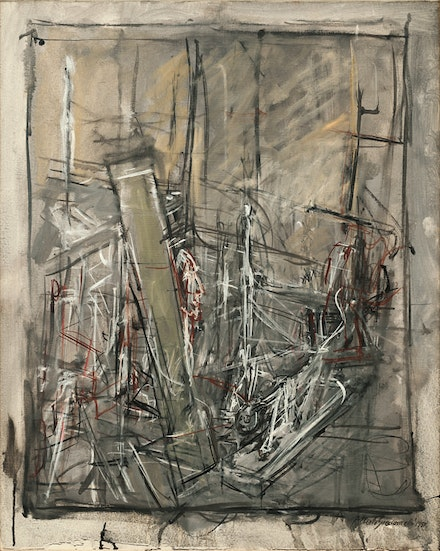 "Alberto Giacometti, ""L'Atelier (The Studio)"" (1951). Oil on canvas, 29 × 23 ̋. Carnegie Museum of Art, Pittsburgh. Gift of Mr. and Mrs. Charles Zadok. © Alberto Giacometti Estate/Licensed by VAGA and ARS, New York, NY. Courtesy Gagosian Gallery."