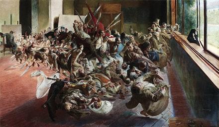 """Jacek Malczewski, """"Melancholia (Melancholy)"""" (1890 – 94). Oil on canvas, 54 3/4 × 94 1/2 ̋. Muzeum Narodowe w Poznaniu, Poznań. Fundacja Raczyńskich. Courtesy Gagosian Gallery."""