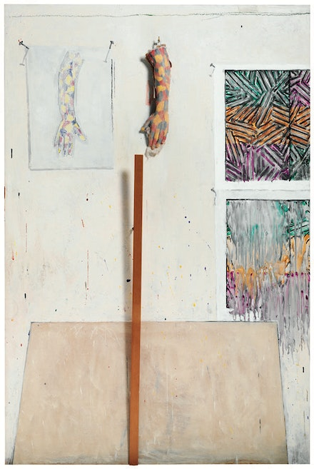 "Jasper Johns, ""In the Studio"" (1982). Encaustic and collage on canvas with objects, 72 × 48 × 5 ̋. Collection of the artist. © Jasper Johns/Licensed by VAGA, New York. Courtesy Gagosian Gallery."