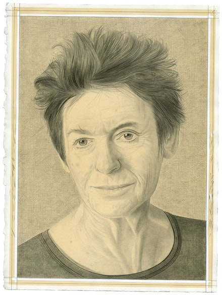 Portrait of Ursula Von Rydingsvard. Pencil on paper by Phong Bui. From a photograph by Zack Garlitos.
