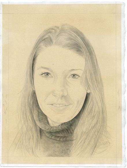 Portrait of Claudia Comte. Pencil on paper by Phong Bui. From a photograph by Zack Garlitos.