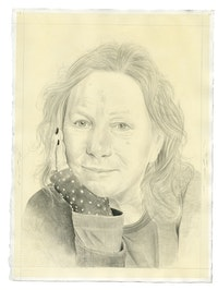 Portrait of the aritst. Pencil on paper by Phong Bui. From a photograph by Zack Garlitos.