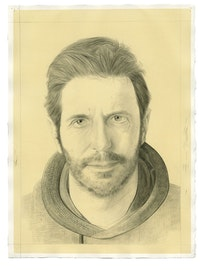 Portrait of Alec Soth. Pencil on paper by Phong Bui. From a photograph by Zack Garlitos.