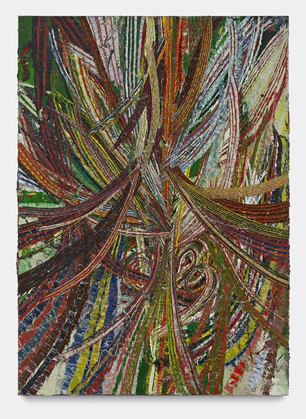 "Mark Grotjahn, ""Untitled (Circus No. 1 Face 44.18)"" (2012). Oil on cardboard mounted on linen, 8 ́5 1/2 ̋ × 72 1/2 ̋. Collection Donald B. Marron, New York. Courtesy of Mark Grotjahn. Copyright Mark Grotjahn. Photo: Douglas M. Parker Studio."