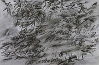 "Julie Mehretu. ""Heavier than air (written form)"" (2014). Ink and acrylic on canvas. 48×72 ̋. Courtesy of the artist, Marian Goodman Gallery, and carlier | gebauer, Berlin. Copyright Julie Mehretu. Photo: Tom Powel."