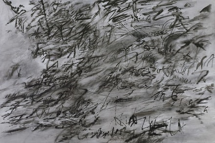"Julie Mehretu. ""Heavier than air (written form)"" (2014). Ink and acrylic on canvas. 48×72 ̋. Courtesy of the artist, Marian Goodman Gallery, and carlier 