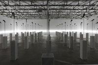 "Loris Gréaud, ""[1] and [1] and [1] Riot"" (2014.) Series of unique work. White marble pedestal, cast aluminum hand sculpture, stainless steel. Dimensions, each work: 190 × 20 × 20 cm. Courtesy Loris Gréaud and the Gréaudstudio."
