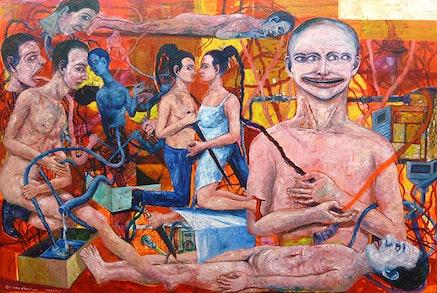 "Entang Wiharso, ""Tremor,"" 2014. Oil color, graphite, resin, thread, color pigment, 48 × 60 ̋. Edition 1 of 2."