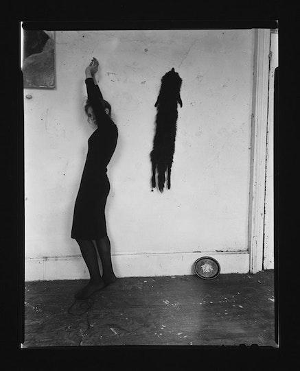 "Francesca Woodman, ""Untitled, New York (N.325)"" (1979 – 1980). Vintage gelatin silver print, image: 4 1/4 × 4 3/8 ̋, paper: 8 × 97⁄8 ̋. Courtesy of George and Betty Woodman and Marian Goodman Gallery."