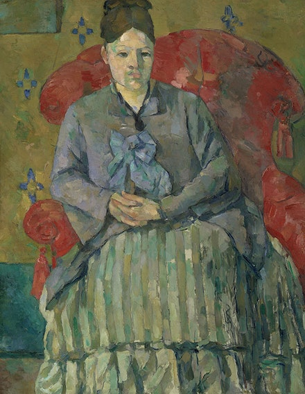 "Cézanne, ""Madame Cézanne in a Red Armchair"" (1877). Oil on canvas, 28 1/2 × 22 ̋. Museum of Fine Arts Boston, Bequest of Robert Treat Paine, 2nd."