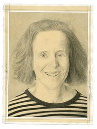 Portrait of Barbara London. Pencil on paper by Phong Bui. From a photograph by Zack Garlitos.