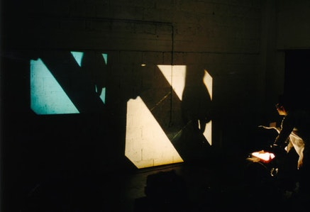 Sala-manca, <em>Homage to Duchamp</em> (2001). Performance for overhead projector and toilet paper. Photo: Niv Hachlil