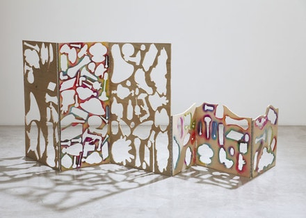 "Teppi Kaneuji, ""Ghost Building (Six panel screen) #1"" (2014). Marine plywood, acrylic paint, metal hinge, spray paint, 122 × 400 × 7 cm. Copyright the artist, courtesy ShugoArts."