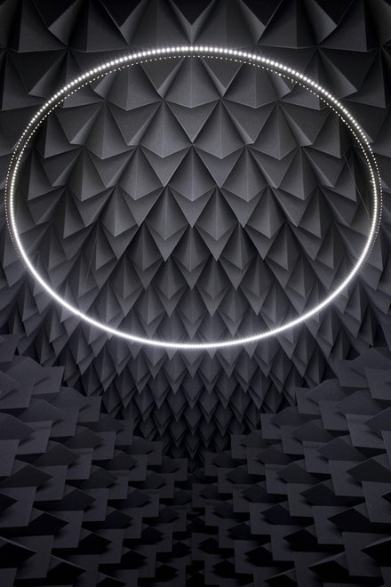 "Haroon Mirza, ""The National Apavilion of Then and Now"" (2011). Photo Omar Mirza. Courtesy the artist and Lisson Gallery."