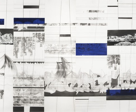 Guy Goldstein, detail from <em>Sounds Like a Plan</em> (2013–14). Graphite, vinyl, tapes, acrylic and typewriter correction poudre on paper, 315 × 36.5 ̋. Image courtesy the artist.