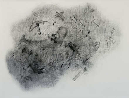 "Naiza Khan, ""Dust Storm"" (2014). Charcoal on Waterford paper 118 × 153.5 cm. Courtesy the artist and Rossi & Rossi, London 