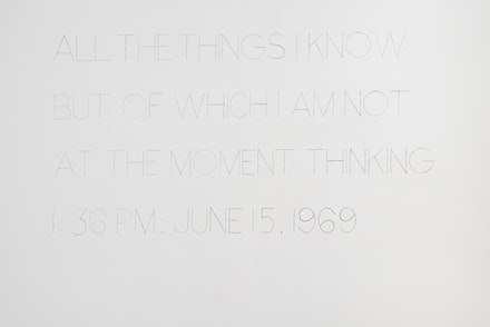 "<p>""All the things I know but of which I am not at the moment thinking—1:36 p.m. June 15, 1969"" (1969). Pencil on wall, Dimensions variable, Exhibition copy. Image courtesy of Ringler Collection, Zurich. Photo credit: Bill Orcutt</p>"