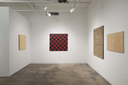 "<p>Installation view of <em>Robert Barry: All the things I know . . .1962 to the present</em>. Photo credit: Bill Orcutt. Paintings included left to right: ""Untitled"" (1965). Ink on unprimed canvas, 32 x 32 inches. Courtesy of the artist. ""Untitled"" (1962). Oil on canvas, 48 x 50 inches. Courtesy of the artist.  <em>Diptych</em> (1962 – 2014) Consisting of the following: ""Untitled"" (1962). Acrylic on canvas, 56 x 47 1/2 inches. ""INCOMPLETE . . ."" (2014). Acrylic on wood panel, Each 24 x 18 inches, Overall 56 x 97 1/2 inches. Courtesy of the Collection of Julia Barry.</p>"