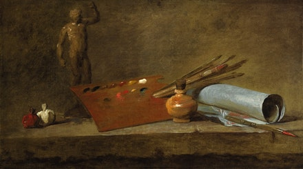 "Jean-Baptiste Siméon Chardin, ""Attributs du peintre (Attributes of the Painter)"" (c. 1725 – 27). Oil on canvas, 19 5/8 × 33 7/8 ̋. Princeton University Art Museum. Gift of Helen Clay Frick. Courtesy Gagosian Gallery."