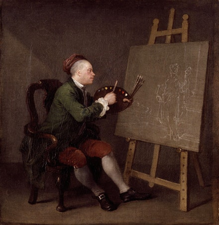 "William Hogarth, ""Hogarth Painting the Comic Muse"" (1758). Oil on canvas, 17 3/4 ×16 3/4 ̋. National Portrait Gallery, London. Purchase. Courtesy Gagosian Gallery."