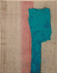 "Joe Fyfe, ""Portrait"" (2004),  acrylic and felt on burlap. Courtesy of the artist."