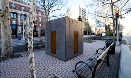 """Davina Semo,""""EVERYTHING IS PERMITTED,"""" 2014. Pigmented reinforced concrete, Cor-ten steel, 6 x 6 x 7'. Broadway Morey Boogie, 117thStreet & Broadway, New York. Courtesy Marlborough Chelsea, New York."""