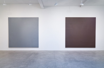 Installation View, Left to right: Zaloudek,2014,Polyurethane on acrylic on canvas 119 1/4
