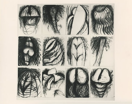"Judith Bernstein, ""A THROUGH V"" (1981). Charcoal on paper, 120 × 120 ̋. Courtesy of the artist."