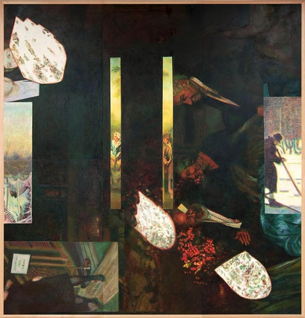 "Ilya & Emilia Kabakov, ""Triptych Three Dark Paintings,"" (2010). Oil on canvas, 200 3/4 x 309 1/2"""