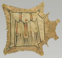 """Eastern Plains artist, probably Illinois, Mid-Mississippi River Basin. """"Robe with Mythic Bird"""" (c. 1700-1740). Native tanned leather, pigment. 42 3/8 × 47 7/8"""