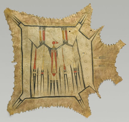 "Eastern Plains artist, probably Illinois, Mid-Mississippi River Basin. ""Robe with Mythic Bird"" (c. 1700-1740). Native tanned leather, pigment. 42 3/8 × 47 7/8"