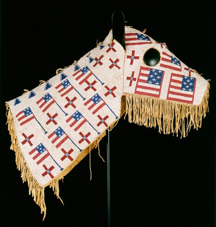 "Lakota (Teton sioux) artist, North or South Dakota. ""Horse Mask"" (ca. 1900). Native tanned leather, glass beads. 28 1/2 × 35"