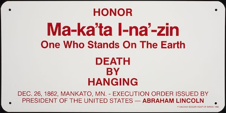 "Edgar Heap of Birds, Hock E Aye Vi, ""Ma-ka'tal-na'-zin (One Who Stands on the Earth)"" (1990). Enamel on aluminum, 18 × 36.25 × 0.0625"