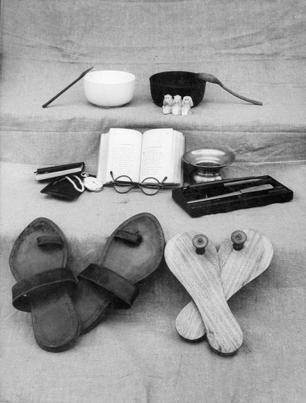 Some of Gandhi's last possessions, ca. 1948 – 50. Photographer Unknown. James Otis/GandhiServe.