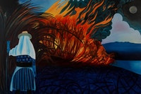 "Laura Kina, ""Cane Fire"" (2010). Oil on canvas, 30 × 45"