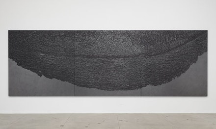 "Giuseppe Penone, ""Pelle di grafite—palpebra (Skin of Graphite—Eyelid)"" (2012). Graphite on black canvas, 78 3/4 × 78 3/4"